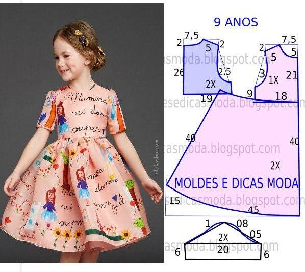 Выкройка детских платьев на 3 года